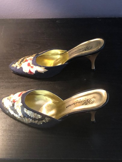 Blumarine Navy with Colored Embroidery Mules Image 3