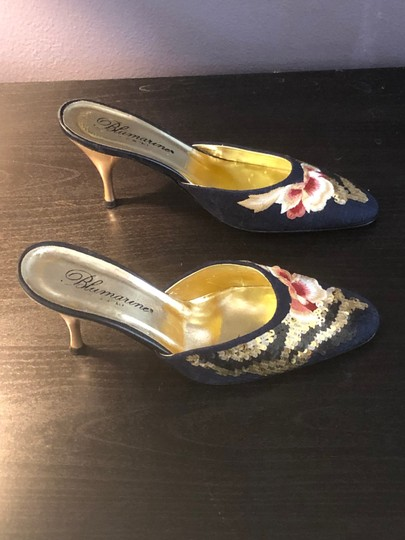 Blumarine Navy with Colored Embroidery Mules Image 4
