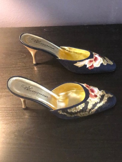 Blumarine Navy with Colored Embroidery Mules Image 5