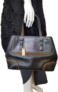 Coach Leather Contrast Tote in black
