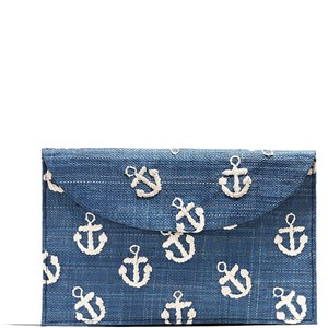 Kayu Embroidered Summer Navy Clutch