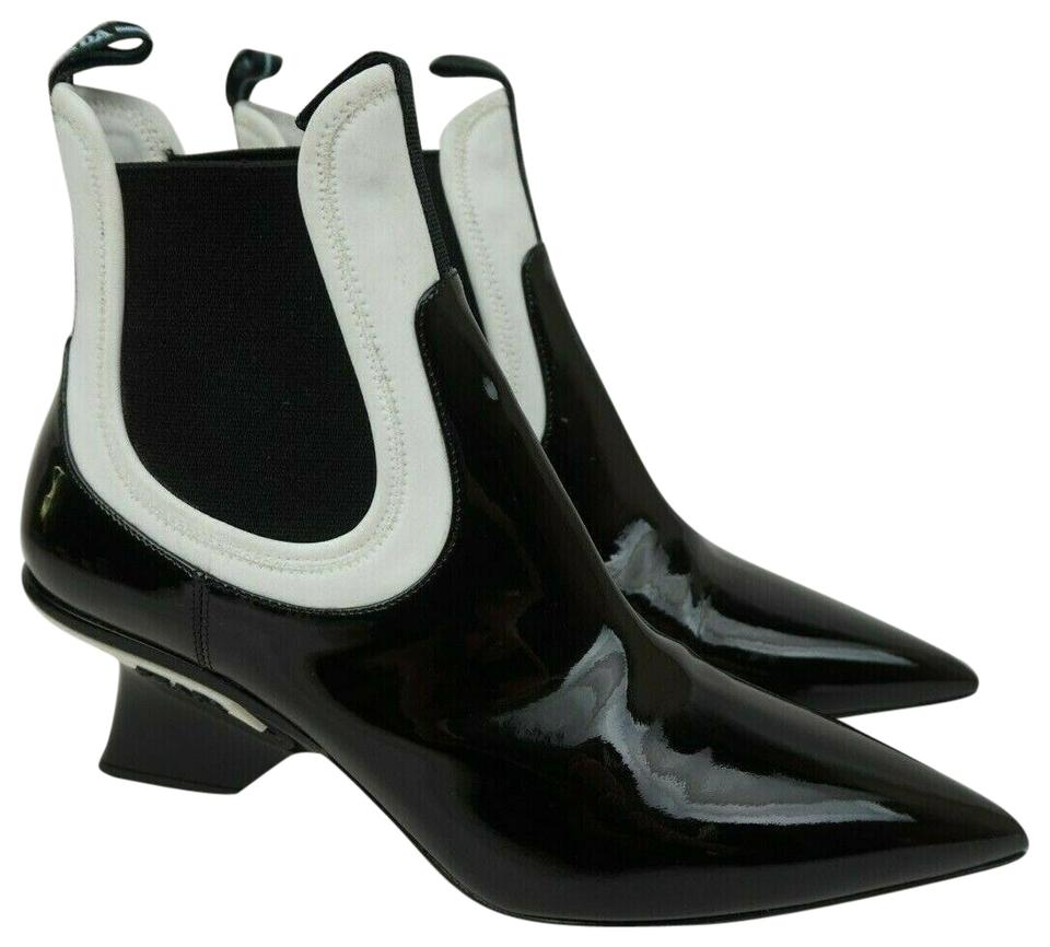 limited quantity latest new Prada Black White Patent Leather Neoprene Chelsea Women's Ankle  Boots/Booties Size EU 38.5 (Approx. US 8.5) Regular (M, B) 43% off retail