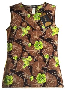 Versace Wool Classic Casual Sleeveless Top Cocoa/Lime