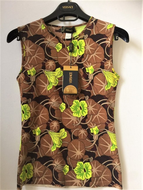 Versace Wool Classic Casual Sleeveless Top Cocoa/Lime Image 1