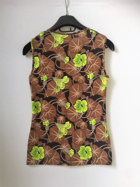 Versace Wool Classic Casual Sleeveless Top Cocoa/Lime Image 2
