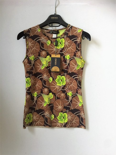 Versace Wool Classic Casual Sleeveless Top Cocoa/Lime Image 3