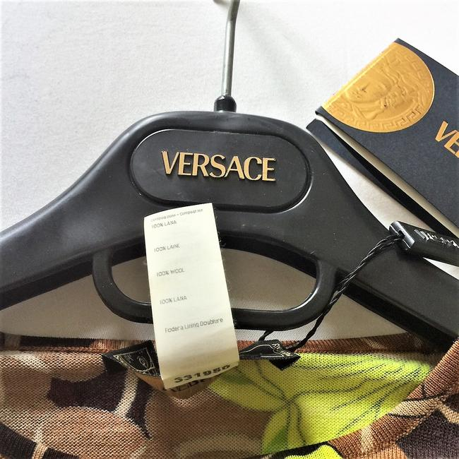 Versace Wool Classic Casual Sleeveless Top Cocoa/Lime Image 7