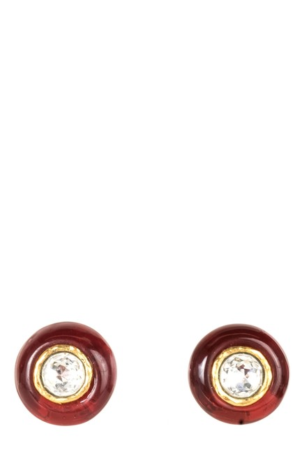 Item - Red Resin and Crystal Clip-on Earrings
