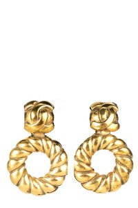 Chanel CHANEL Vintage Gold Drop Earrings