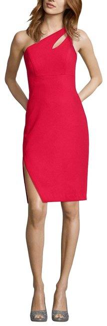 Item - Red One-shoulder Cutout Mid-length Formal Dress Size 6 (S)