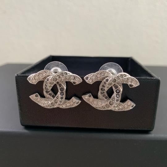 Chanel Logo Silver Tone Crystals Twisted LARGE 1