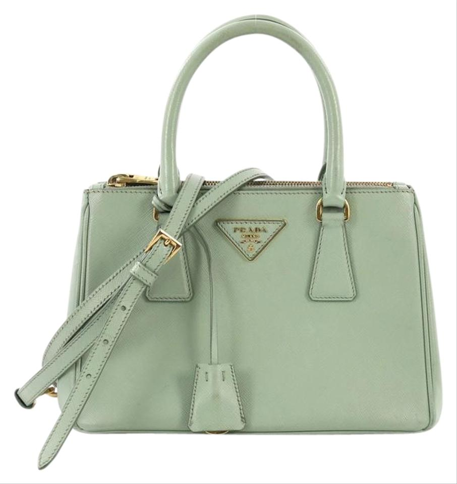 cb9c06eae034 Prada Galleria Double Zip Small Light Green Saffiano Leather Tote ...