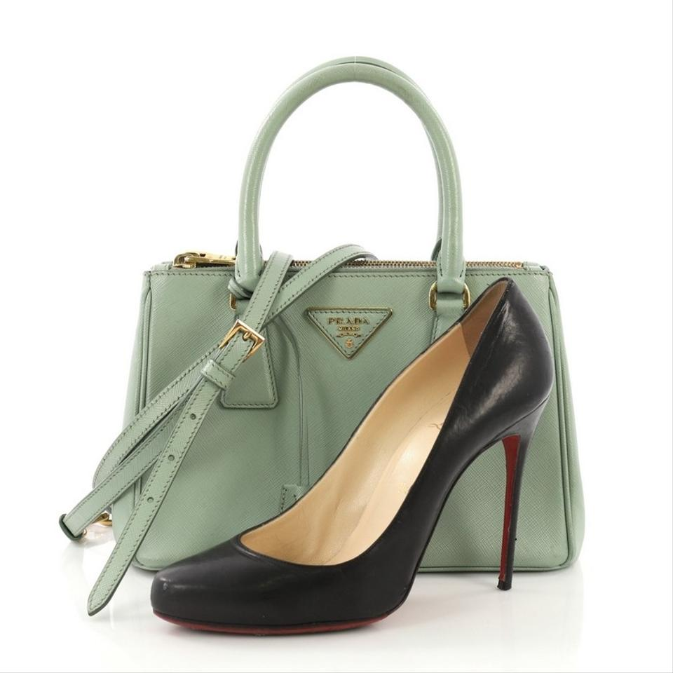 fd276516236c0f Prada Galleria Double Zip Small Light Green Saffiano Leather Tote ...