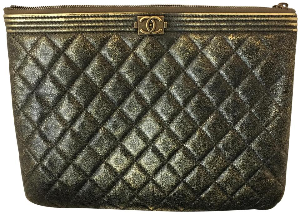 b6b4db2cdcea Chanel Boy 109319 Metallic Distressed Black Le O Case 11x8 Gold Calfskin  Leather Clutch