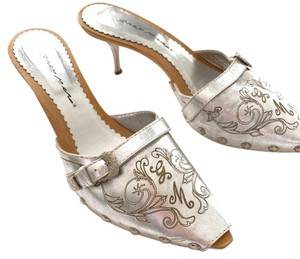 Grey Mer Silver Mules