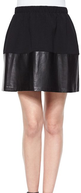 Item - Black Jersey And Leather Pleated Skirt Size 6 (S, 28)
