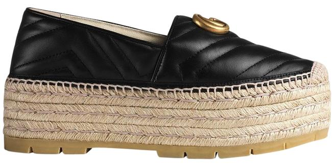 Item - Black Gg Leather Espadrille with Double G Platforms Size EU 37 (Approx. US 7) Regular (M, B)