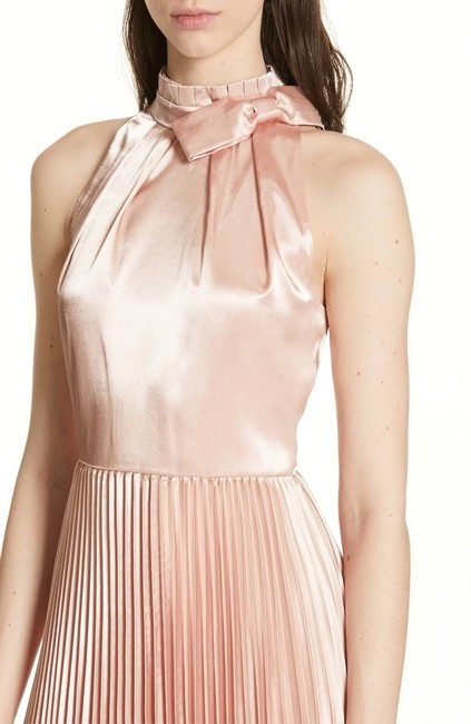 Item - Rose Gold Satin Shineey Bow Pleated Midi 2018 New Mid-length Night Out Dress Size 0 (XS)