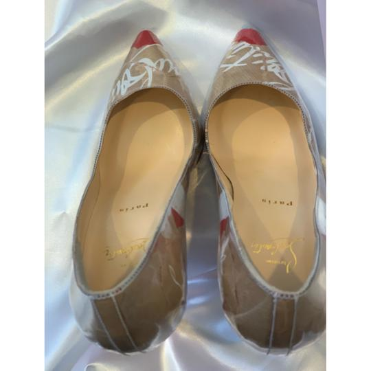 Christian Louboutin white, red and brown Pumps