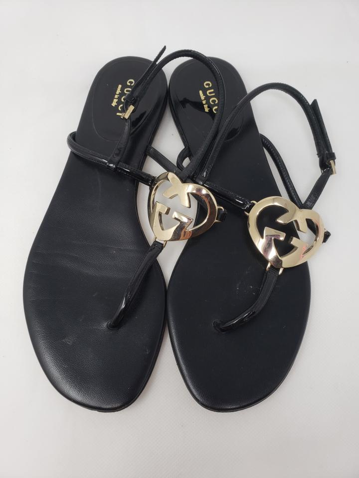 264876d15 Gucci Black Patent Leather Gg Heart Logo Sandals Size EU 38 (Approx ...