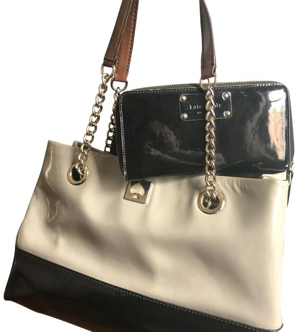 Item - Tote and Wallet Black & Beige Patent Leather Satchel