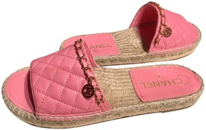 Chanel Espadrilles Chains Quilted Mules Slides Pink Sandals