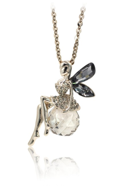 Item - Brown Crystal Fairy Golden Necklace