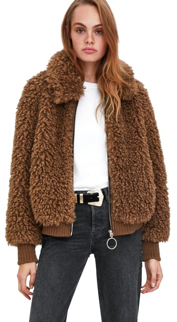 Item - Brown Faux Shearling Bomber Coat Size 8 (M)