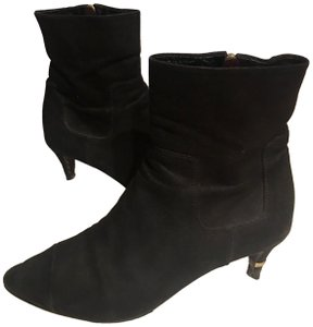 Chanel Cap Toe Leather Suede Pointed Toe Ankle Black Boots