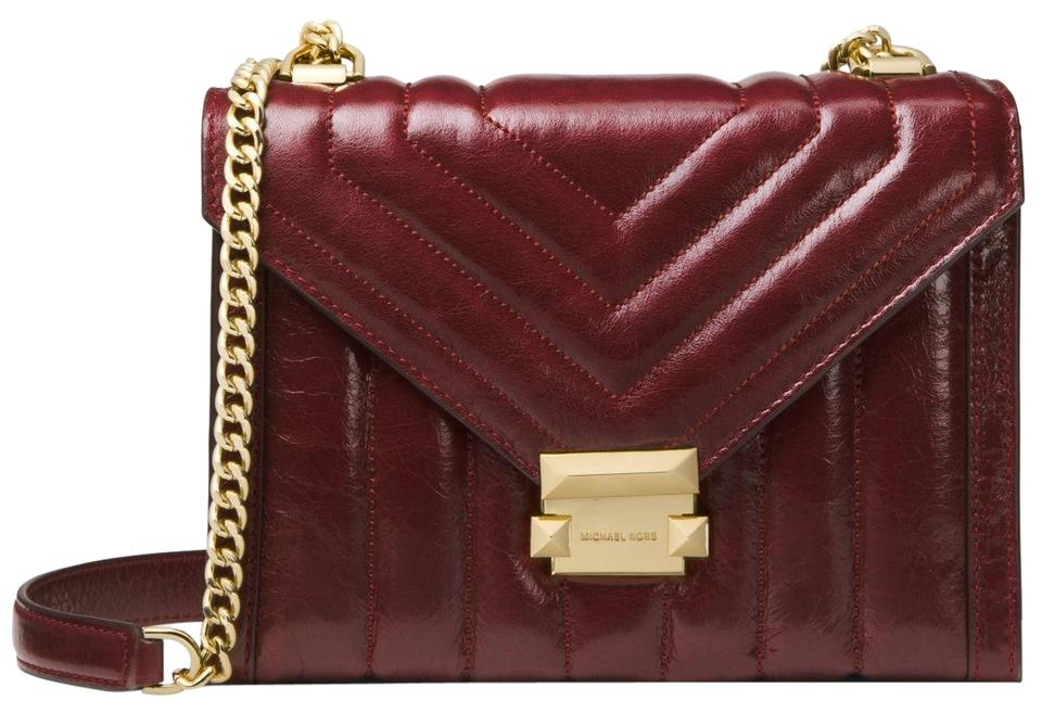 9f644537e449 Michael Kors Whitney Large Quilted Convertible Oxblood Leather ...