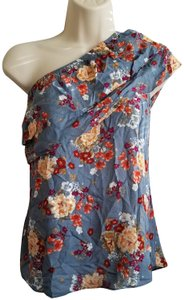 Socialite Designer One Shoulder Fashion Ruffles Floral Top Blue
