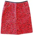 Esprit A-line Floral Preppy Quilted Summer Skirt red