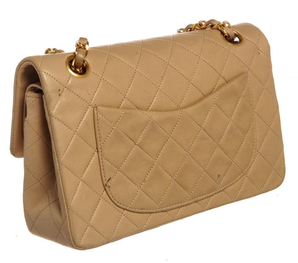 f14456558dace9 Chanel Vintage Quilted Small Double Beige Lambskin Leather Shoulder Bag -  Tradesy