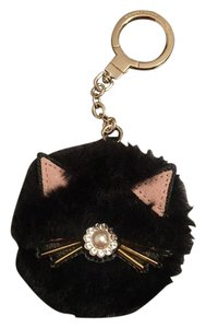 Kate Spade NWT Kate Spade Black Cat Pouf Keychain with Faux Pearls & Stones
