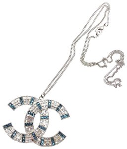 Chanel Chanel Silver CC Light Blue Crystal Large Pendant Necklace