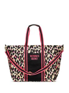 Victoria S Secret New Lightweight Leopard Wild Zip Tote Black Cavans Weekend Travel Bag