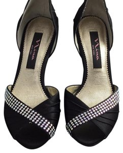 Nina Shoes black and rhinestoned Wedges