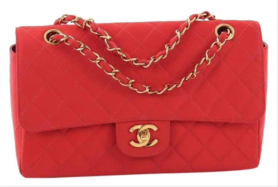 67d096286e6e Chanel Classic Flap Vintage Cc Chain Quilted Grosgrain Medium Red ...