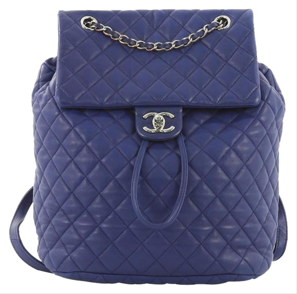 f1d7d16bcee3 Chanel Urban Spirit Quilted Large Blue Lambskin Backpack - Tradesy