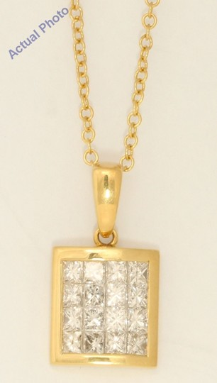 CaratsDirect2U 18K Gold Princess Rectangular Diamond Pendant 1.03 Ct,H,Vs C31000165 Image 1