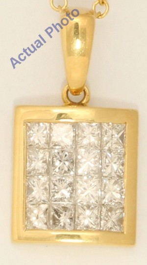 CaratsDirect2U 18K Gold Princess Rectangular Diamond Pendant 1.03 Ct,H,Vs C31000165 Image 2