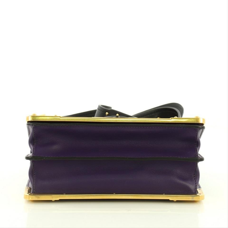 98db6f731732 Prada Cahier City Calf and Saffiano Small Purple Leather Cross Body Bag