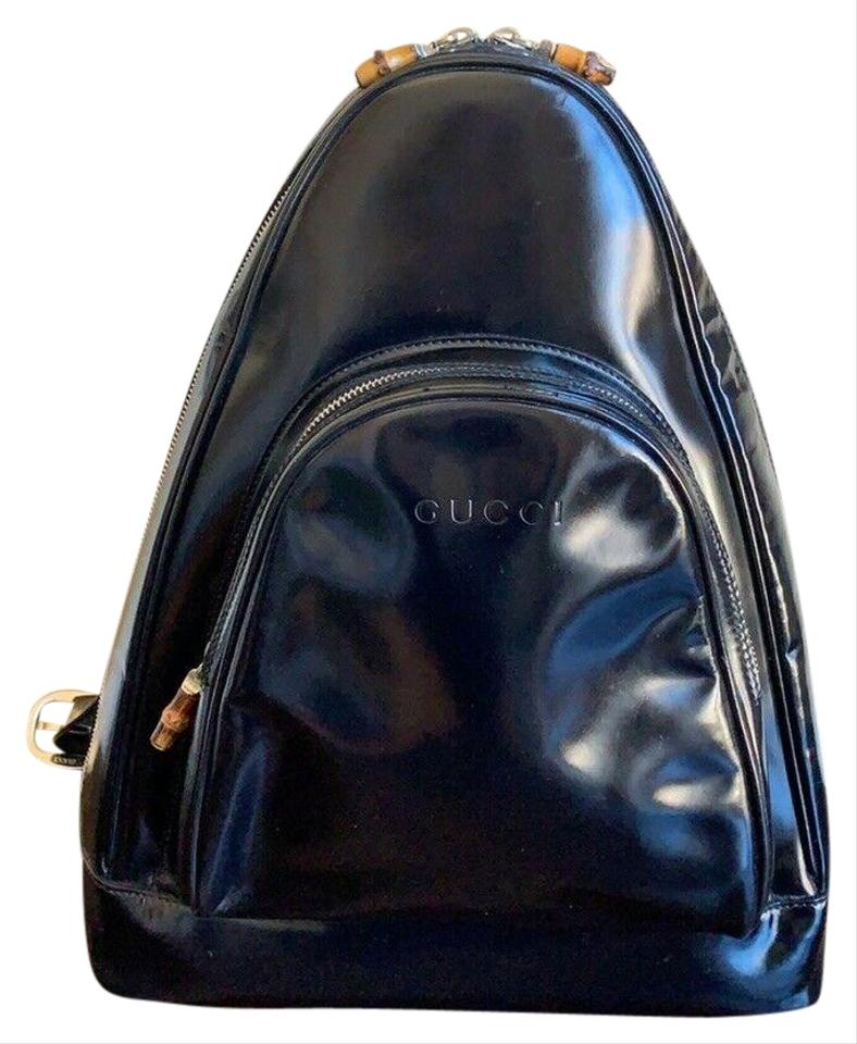 c56b5872c9358 Gucci Patent Leather Multiple Compartment Bamboo Accents Excellent Vintage  Backpack Image 0 ...