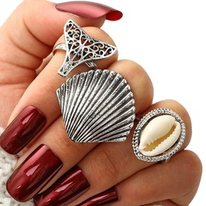 Other Beach Babe Ring Set Lot of 3 Mermaid Tail Cowrie Shell Ring Silver