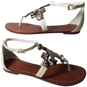 648564d63 Tory Burch Ivory Python T Flat Phoebe T-strap Ankle Thongs Sandals ...