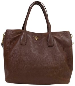 c7182de1e4a2 Prada Luxe Saffiano Shopper Daino Vitello Tote in Brown