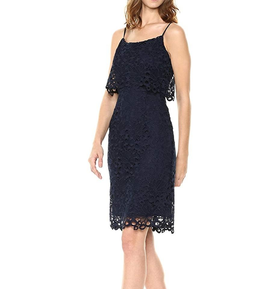 6d6d5d980c Nanette Lepore Dark Navy Blue Bella Donna Peplum Lace Sheath Mid-length  Work/Office Dress Size 10 (M) - Tradesy