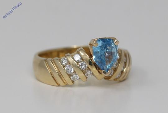 CaratsDirect2U Gold Pear Diamond Engagement Ring W/Shoulders 0.75 Ct Blue C31003023 Image 1