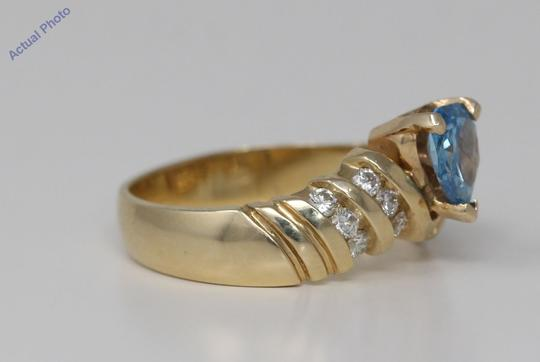 CaratsDirect2U Gold Pear Diamond Engagement Ring W/Shoulders 0.75 Ct Blue C31003023 Image 2