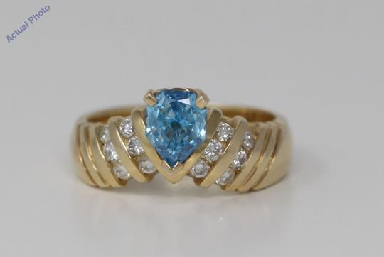 CaratsDirect2U Gold Pear Diamond Engagement Ring W/Shoulders 0.75 Ct Blue C31003023 Image 3